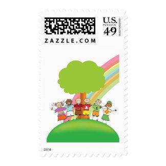 Rainbow kids postage stamps
