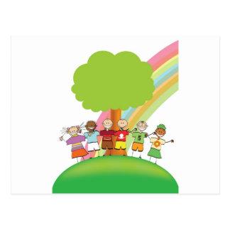 Rainbow kids postcard