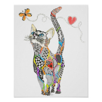 "Rainbow Kitty 20"" x 16"" Poster (You can Customize)"