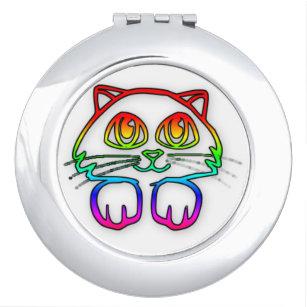 Rainbow Kitty Cat compact mirror