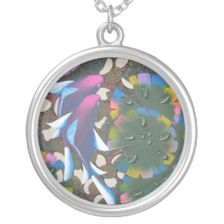 rainbow koi silver plated necklace
