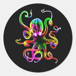Rainbow Kraken Glow Classic Round Sticker