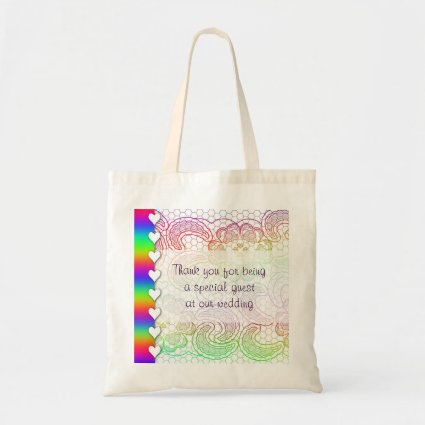 Rainbow Lace and Hearts Wedding Budget Tote Bag