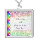 Rainbow Lace and Hearts Wedding Personalized Necklace