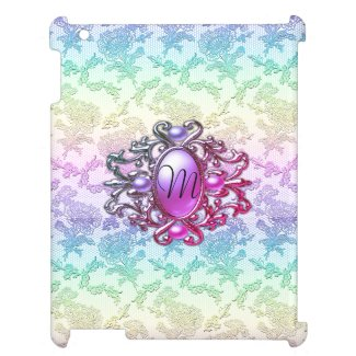 Rainbow Lace and Monogram Purple Jewel Case For The iPad