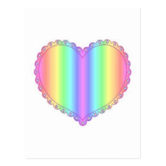 Rainbow Lace Heart Design Postcard
