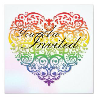 Rainbow Lace Heart Wedding Invitation