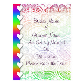Rainbow Lace Hearts Wedding Save The Date Postcard