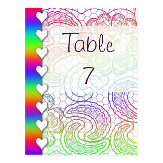 Rainbow Lace Hearts Wedding Table Numbers Postcard