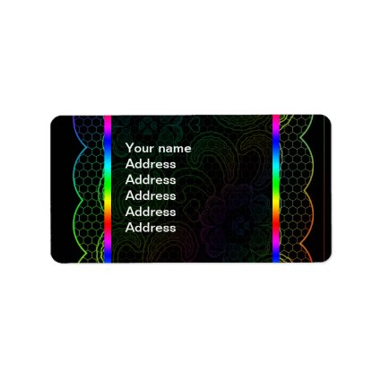 Rainbow Lace Wedding Address Label