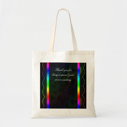 Rainbow Lace Wedding Favor Canvas Bags