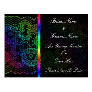 Rainbow Lace Wedding Save The Date Postcard