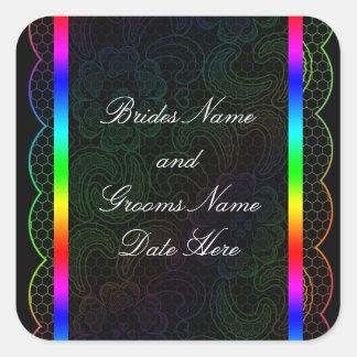 Rainbow Lace Wedding Square Sticker