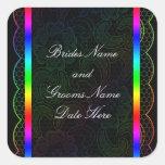 Rainbow Lace Wedding Square Stickers