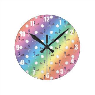 Rainbow lacrosse pattern round clock