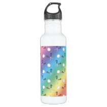 Rainbow lacrosse pattern stainless steel water bottle