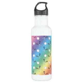 Rainbow lacrosse pattern stainless steel water bottle