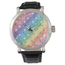 Rainbow lacrosse pattern wristwatch