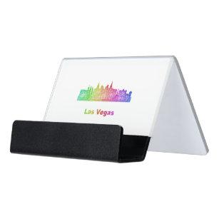 Las vegas nevada business card holders cases zazzle rainbow las vegas skyline desk business card holder reheart Image collections