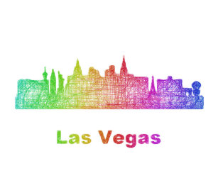 Las vegas business card holders cases zazzle rainbow las vegas skyline desk business card holder reheart Image collections