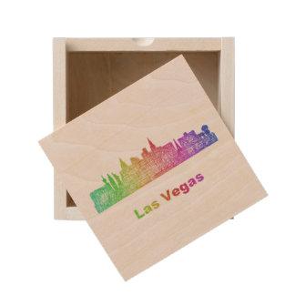 Rainbow Las Vegas skyline Wooden Keepsake Box