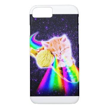 Rainbow Laser Eyes Galaxy Cat Riding Taco iPhone 8/7 Case