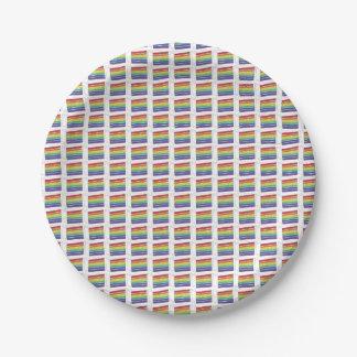 Rainbow Layer Cake Slice Slices Plates