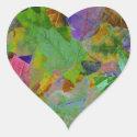 Rainbow Leaves Background Heart Sticker (<em>$5.25</em>)