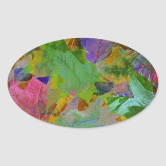 Rainbow Leaves Background Oval Sticker