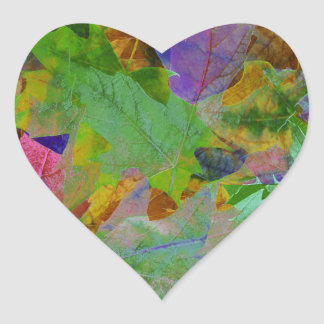Rainbow Leaves Background Heart Sticker