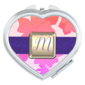 Rainbow Leaves, Floral Monogram Compact Mirror