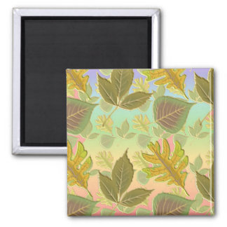 Rainbow Leaves 2 Inch Square Magnet