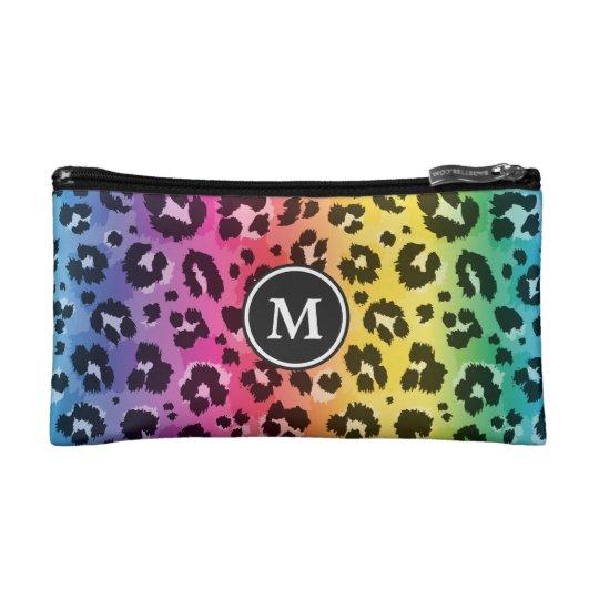 33b51815b28e Rainbow Leopard Animal Print Pattern Monogrammed Cosmetic Bag ...