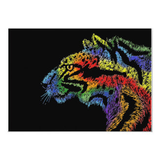 Rainbow leopard (black) invitation 5x7 horizontal