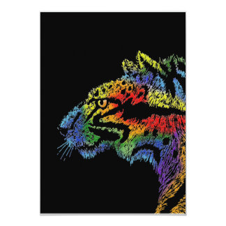 Rainbow leopard (black) invitation 5x7 vertical