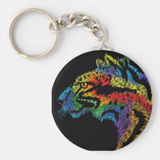 Rainbow leopard black keychain