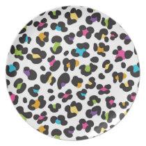 Rainbow Leopard Pattern Melamine Plate