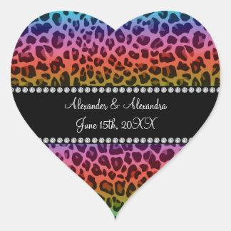 Rainbow leopard pattern wedding favors heart sticker