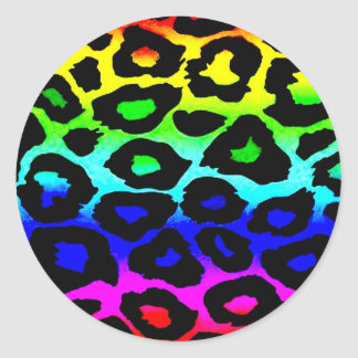 rainbow_leopard_print-altered classic round sticker