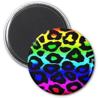 rainbow_leopard_print-altered imán redondo 5 cm