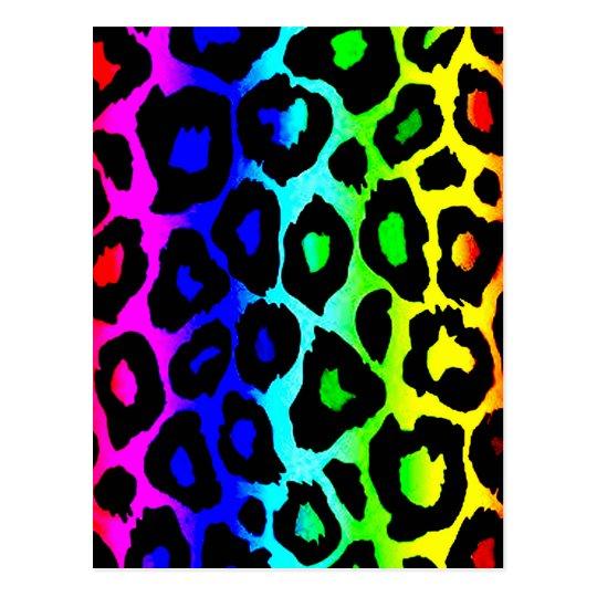 rainbow_leopard_print-altered postcard