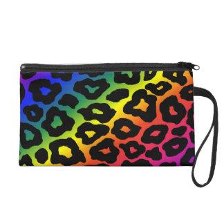 Rainbow Leopard Print Wristlet Clutch