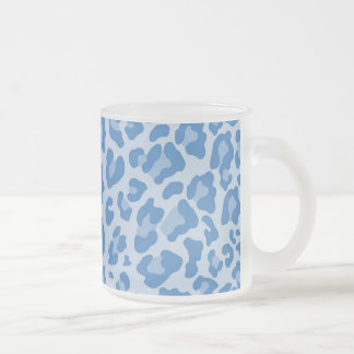 Rainbow Leopard Print Collection - Blue Frosted Glass Coffee Mug
