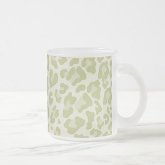 Rainbow Leopard Print Collection - Light Green Frosted Glass Coffee Mug