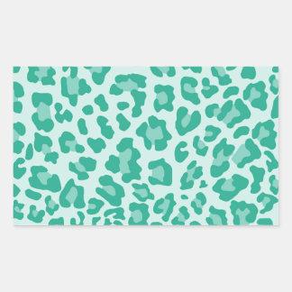 Rainbow Leopard Print Collection - Seafoam Green Rectangular Sticker