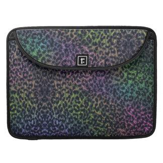 rainbow leopard print Macbook flap sleeve