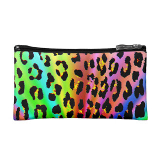 Rainbow Leopard Print Makeup Bag