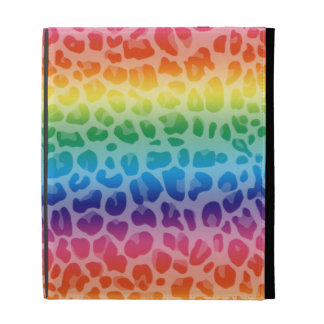 Rainbow leopard print pattern iPad case