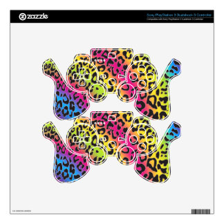 rainbow leopard print video game controller skin PS3 controller skin