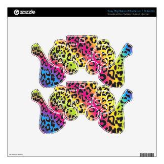 rainbow leopard print video game controller skin PS3 controller skin